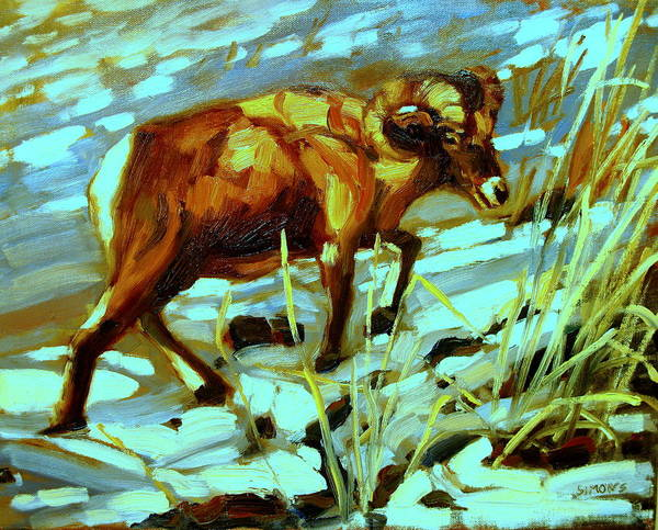 Animal Paintings Art Print featuring the painting Climbing Ram by Brian Simons