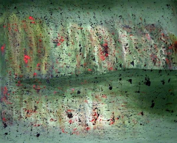 Abstract Art Print featuring the painting Composition In Green by Mushtaq Bhat
