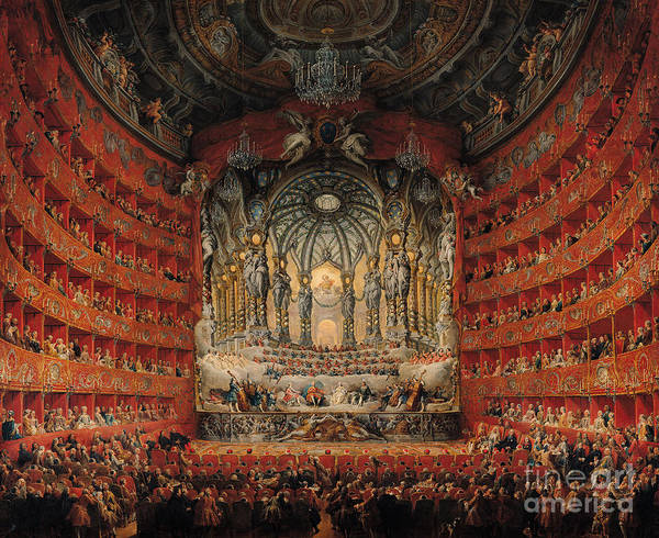Concert Art Print featuring the painting Concert Given By Cardinal De La Rochefoucauld At The Argentina Theatre In Rome by Giovanni Paolo Pannini or Panini
