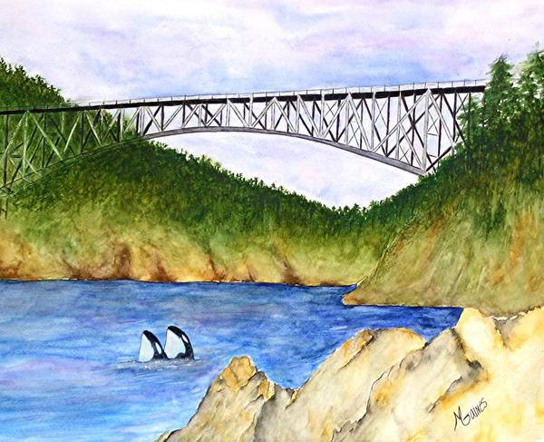 Bridges Art Print featuring the painting Deception Pass Bridge by Mary Gaines