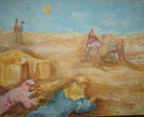 Landscape Camels Arabs Desert Animal Tents Art Print featuring the painting Desert by Joseph Sandora Jr