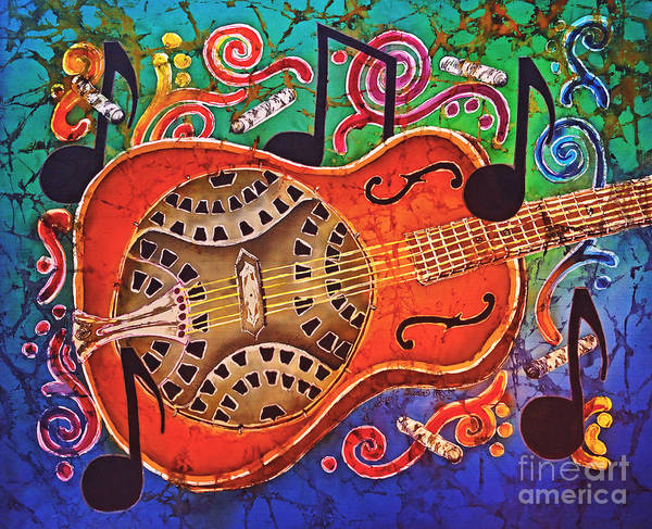 Dobro Art Print featuring the tapestry - textile Dobro - Slide Guitar by Sue Duda