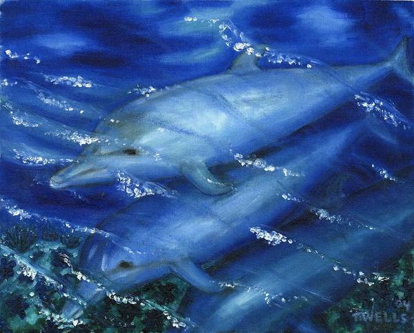 Dolphins Art Print featuring the painting Dolphins Swimming by Tanna Lee M Wells