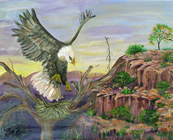 Eagle Art Print featuring the painting Eagles Nest by Mikki Alhart