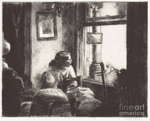 Art Print featuring the drawing East Side Interior by Edward Hopper