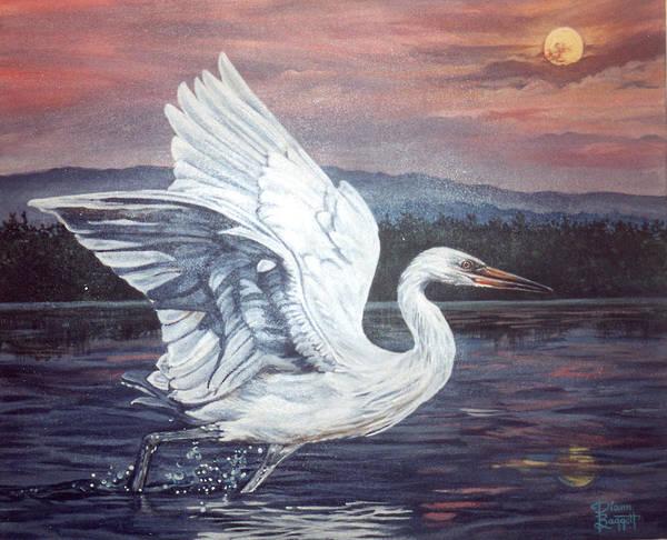 Bird Art Print featuring the painting Egret by Diann Baggett