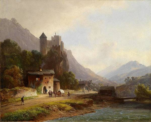 Anton Doll (1826�1887) Encounter In A Mountain Valley Beneath A Castle Art Print featuring the painting Encounter In A Mountain Valley by Anton Doll