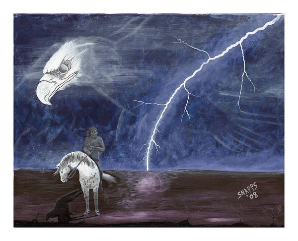 Lightning Art Print featuring the painting End Of The Trail by Derek Snapps Keenatch