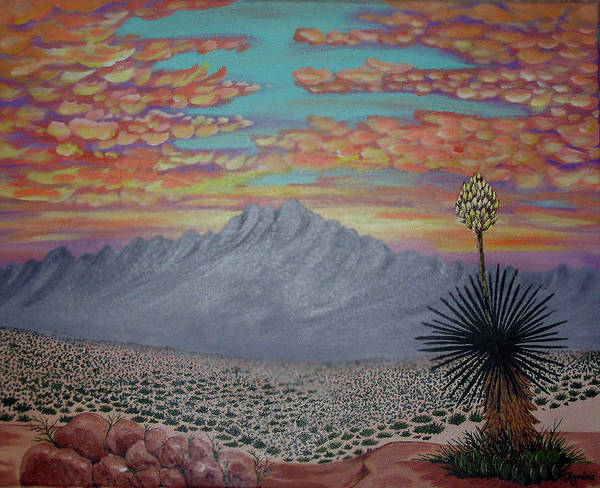 Desertscape Art Print featuring the painting Evening In The Desert by Marco Morales