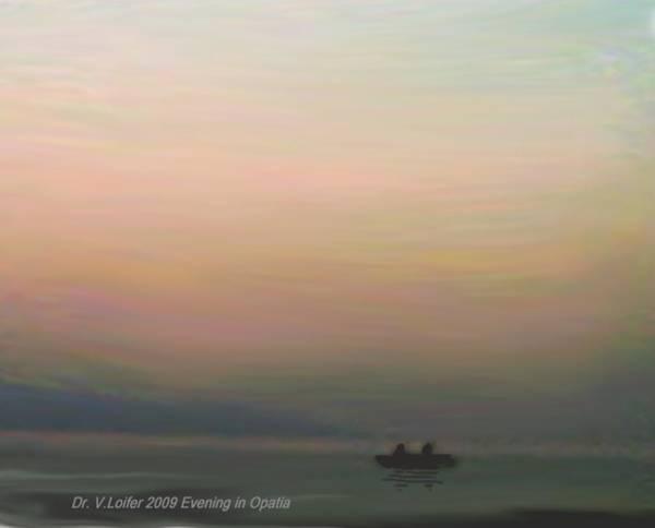 Landscape Art Print featuring the digital art Evening.opatia.croatia by Dr Loifer Vladimir
