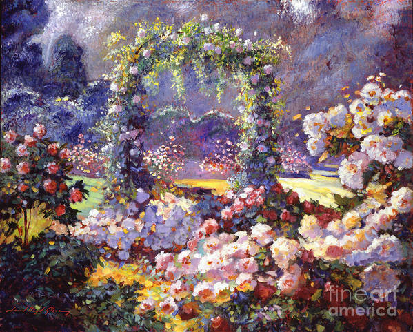 Landscape Art Print featuring the painting Fantasy Garden Delights by David Lloyd Glover
