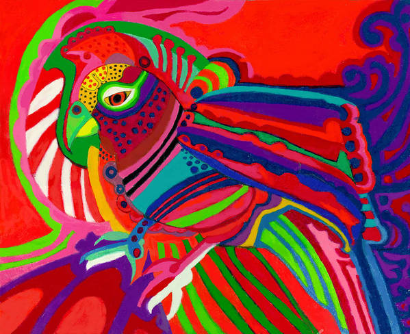 Parrot Art Print featuring the drawing Fantasy Parrot by Lydia L Kramer