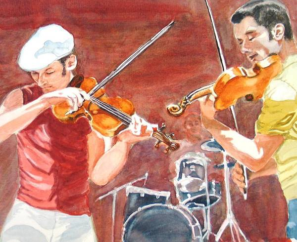 Musicians Art Print featuring the painting Fiddles by Karen Ilari