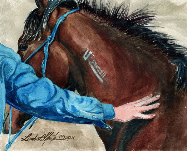 Mustang Makeover Print featuring the painting First Touch by Linda L Martin