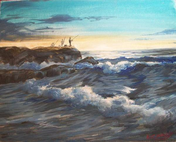 Impressionistic Art Print featuring the painting Fishing Off Point Judith R.i. by Perrys Fine Art