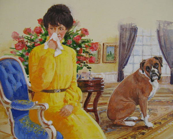 Acrylic Painting Print featuring the painting Flatulent Boxer by Cliff Spohn
