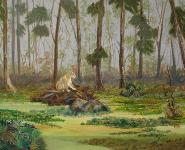 Florida Art Print featuring the painting Florida Panther by Susan Kubes