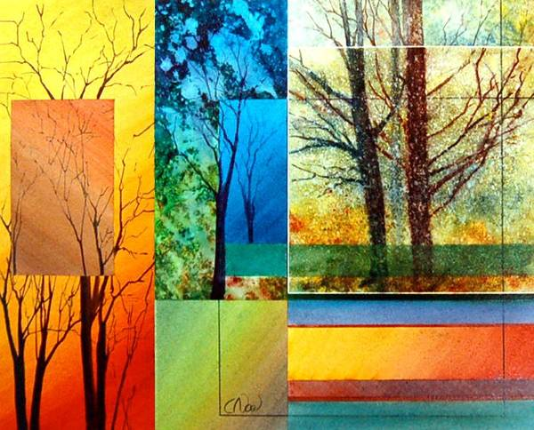 Trees Art Print featuring the painting Four Seasons by Claude Noel
