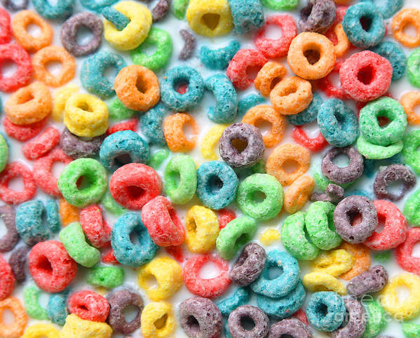 Froot Loops Swimming In Milk On A Hot Summer Day Art Print
