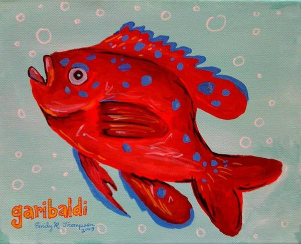 Fish Whimsical Animal Tropical Garibaldi Art Print featuring the painting Garibaldi by Emily Reynolds Thompson