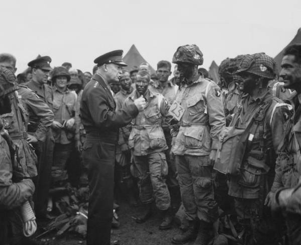 101st Airborne Division Art Print featuring the photograph General Eisenhower On D-day by War Is Hell Store