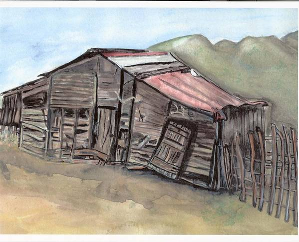 Barn Art Print featuring the painting Gila New Mexico Cattle Barn by Margaret Fortunato