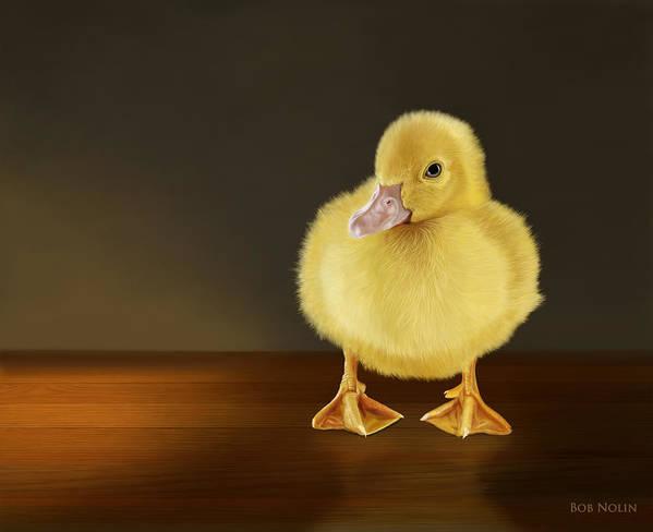 Duckling Art Print featuring the digital art Golden Glow by Bob Nolin