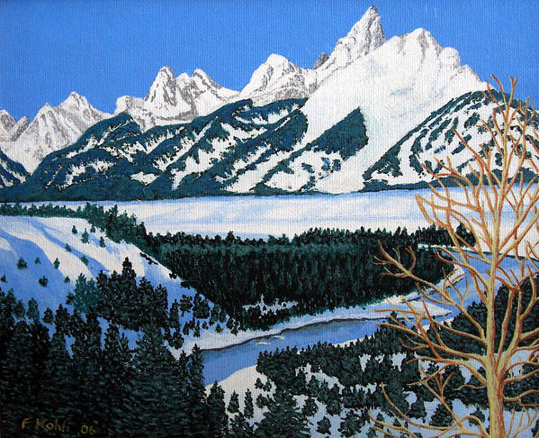 Landscape Art Art Print featuring the painting Grand Teton by Frederic Kohli