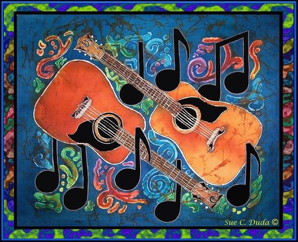 Guitar Art Print featuring the painting Guitars - Bordered by Sue Duda