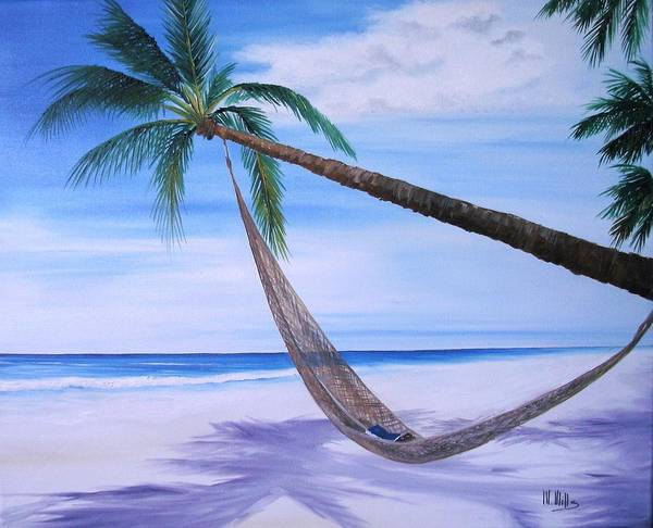 Beach Art Print featuring the painting Hammock by Maria Mills