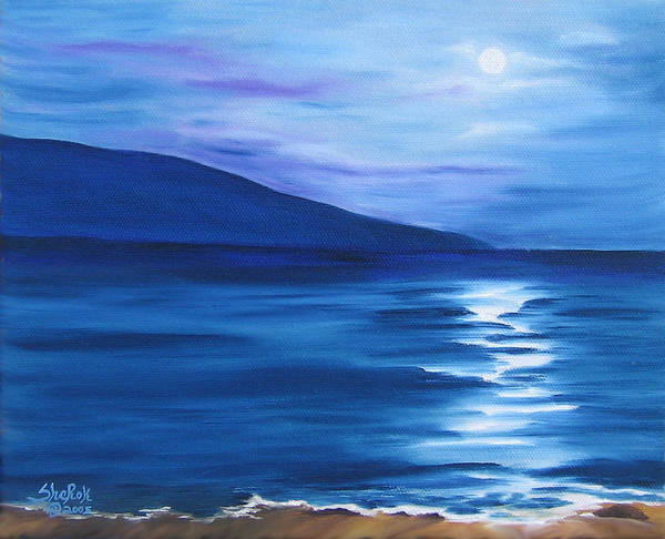 Landscape Art Print featuring the painting Hanalei Moon by SheRok Williams