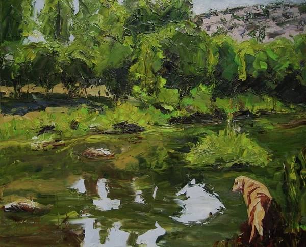 Landscape Art Print featuring the painting Hiking With Parker Two by Paula Stern