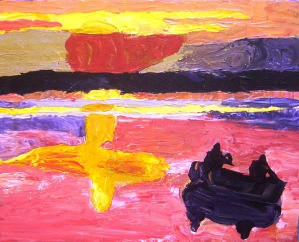 Canoe Art Print featuring the painting Homeward Paddle by Karen L Christophersen