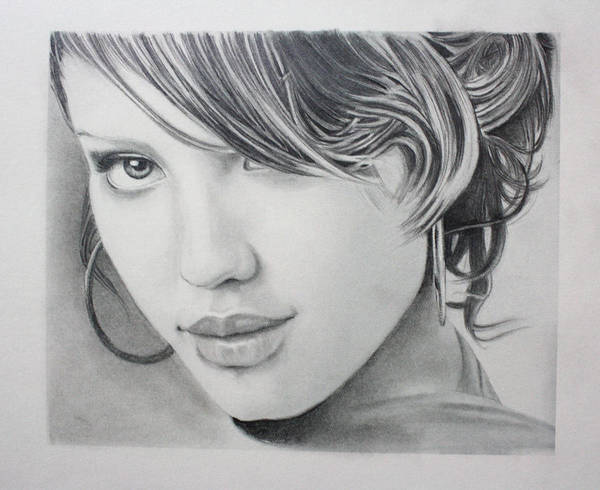 Portrait Drawing Art Print featuring the drawing Jessica by Ted Castor