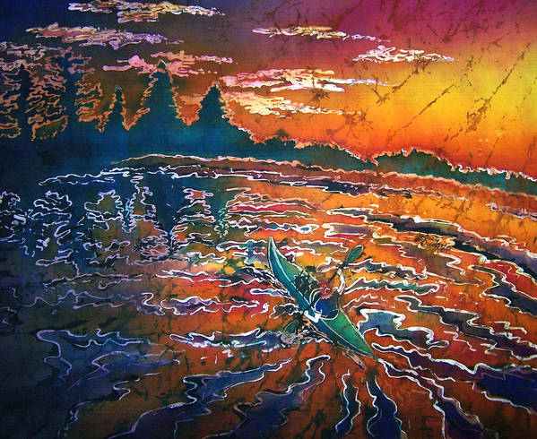 Kayak Art Print featuring the painting Kayak Serenity by Sue Duda