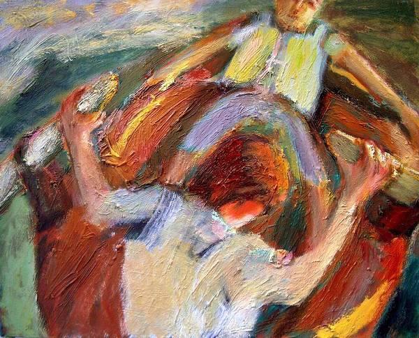 Dornberg Art Print featuring the painting Kids In A Rowboat by Bob Dornberg
