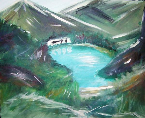 Moutains Art Print featuring the painting Lake Louise by Patti Spires Hamilton