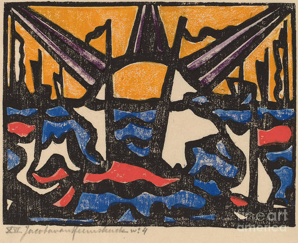 Art Print featuring the drawing Landscape With A Sun by Jacoba Van Heemskerck Van Beest
