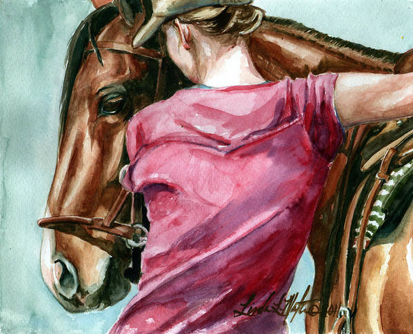 Wild Horse Print featuring the painting Lean On Me by Linda L Martin