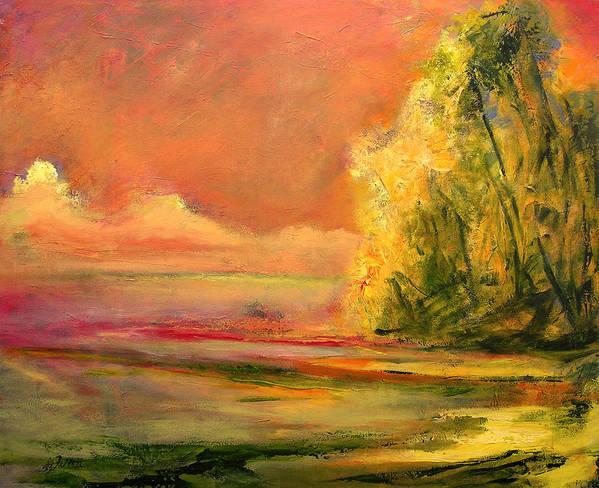 Large Canvas Reproductions Art Print featuring the painting Luminous Sunset 2-16-06 Julianne Felton by Julianne Felton
