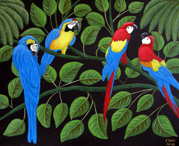 Birds Paintings Art Print featuring the painting Macaws by Frederic Kohli