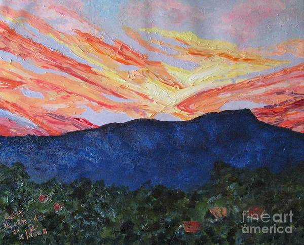 Massanutten Peak Art Print featuring the painting Massanutten Peak Sunrise by Judith Espinoza