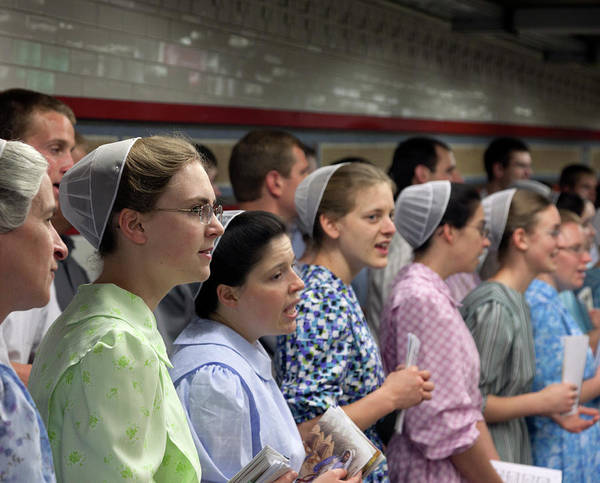 Mennonite Art Print featuring the photograph Mennonite Chorus Union Square Station Nyc 5 21 11 1 by Robert Ullmann