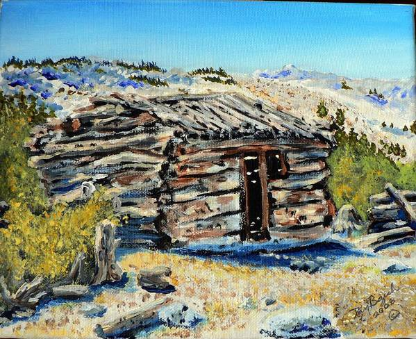 Mining Art Print featuring the painting Miner's Cabin by Dan Bozich