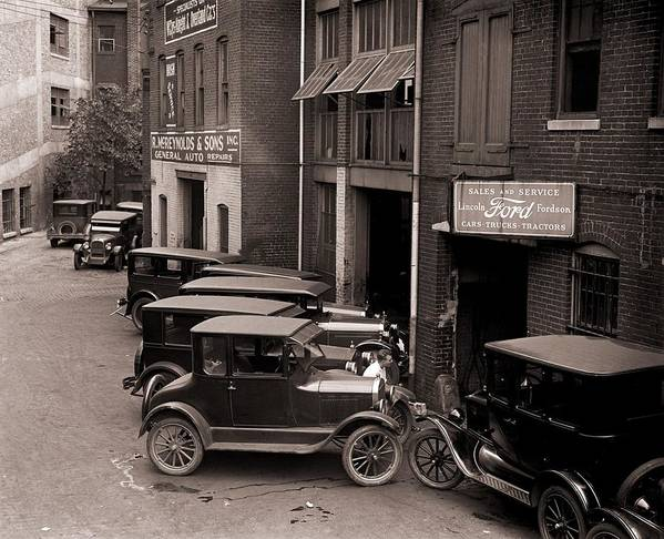 History Art Print featuring the photograph Model Ts, And One More Luxurious by Everett