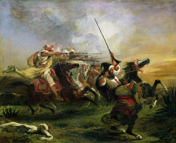 Moroccan Print featuring the painting Moroccan Horsemen In Military Action by Ferdinand Victor Eugene Delacroix
