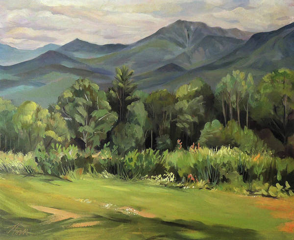 White Mountain Paintngs Art Print featuring the painting Mount Lafayette From Sugar Hill New Hampshire by Nancy Griswold