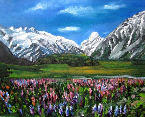 Mountains Landscape Art Print featuring the painting Mountains Landscape Acrylic Painting by Natalja Picugina