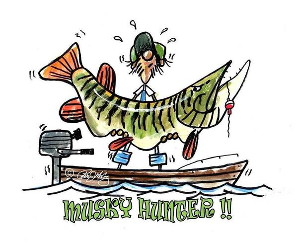 Musky Art Art Print featuring the drawing Musky Hunter - Cartoon by Peter McCoy