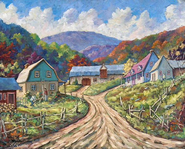Country Art Print featuring the painting My Country My Village by Richard T Pranke